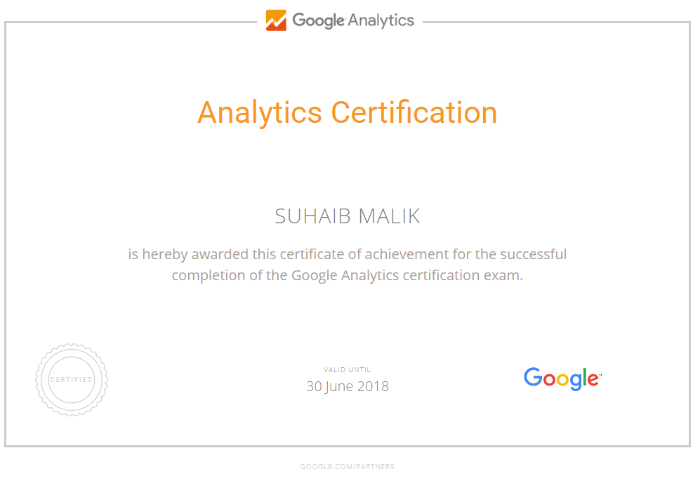 Renewed my Google Analytics certification for the 3rd time
