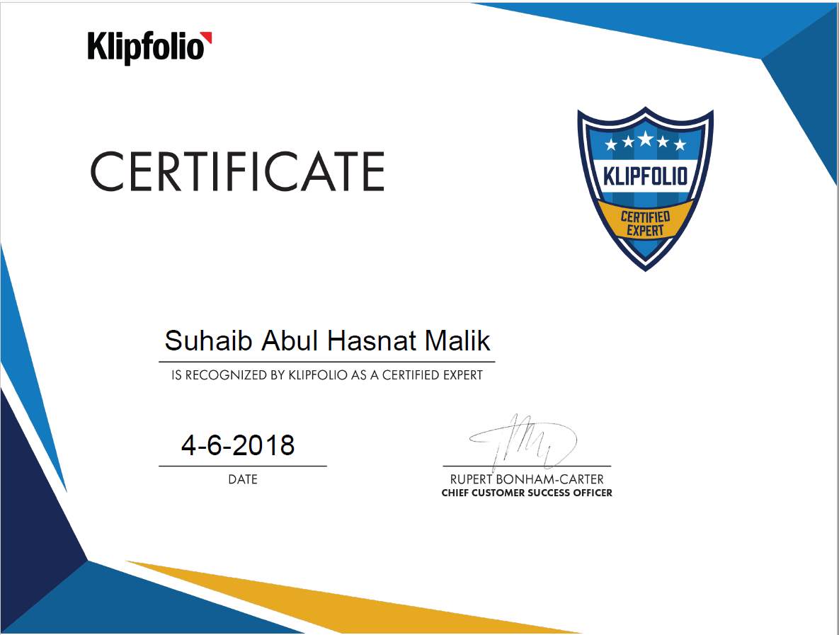 I Am Now Klipfolio Certified Expert Suhaib Malik